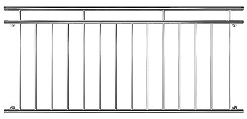 Ringhiera Balcone Francese Inferriate Acciaio Inox 90 x 100/128/156/184/225 cm V2Aox, Width:184 cm