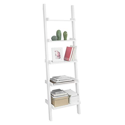 SoBuy FRG17-W Leiterregal mit 5 Ebenen Standregal Bücherregal Badregal Wandregal weiß BHT ca.: 56x189x32,5cm