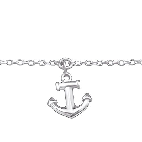 Bungsa© Anker Fusskette .925 Sterling Silver Anchor Yachting Marine (Anklet Fusskette Armband Damenarmband Bracelet Echtschmuck Fußkettchen)