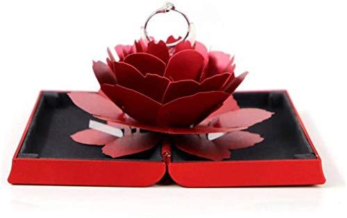 Verloving Ring Box met 3D Rose, Bruiloft Ring Houder, Sieraden Gift Case, Ring Bearer Box voor Verrassing Huwelijk Voorstel