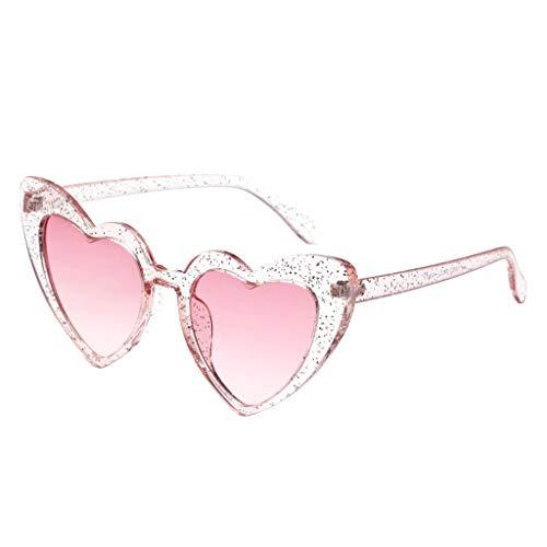 oshhni Gafas de Sol de Mujer en Forma de Corazón con Montura de Plástico Retro Fashion - Rosado