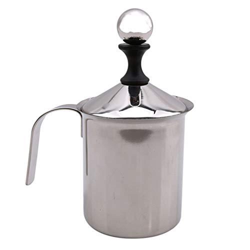 Yinew Manueller Milchaufschäumer, handgehaltener Milchaufschäumer, Edelstahl, manuell, doppeltes Netzgewebe, für Kaffee, Milch, Schaum