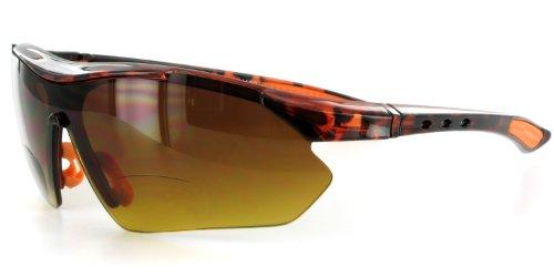 Aloha Eyewear Daredevil Mode Bifokalwillen Sonnenbrille mit Wrap-Around Sports Design und Anti-Glare Beschichtung (Tortoise + Orange W/Bernstein +2.50) 2.5 70 regulär Schildkröte orange