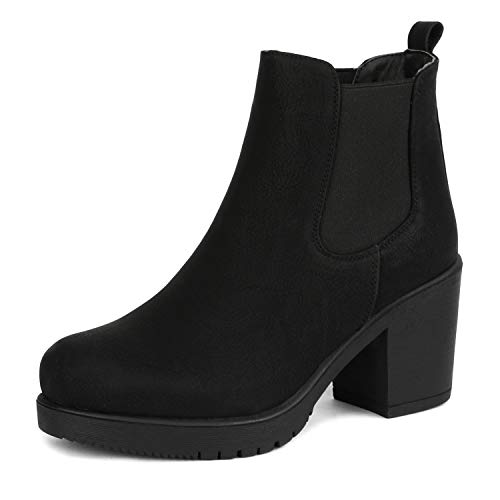 DREAM PAIRS Women's FRE Black_PU High Heel Ankle Boots 9 B(M) US