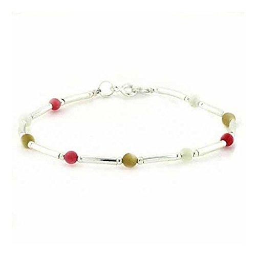 Edles Perlen Armband mit Perlmutt und rosa Koralle, Sterling Silber