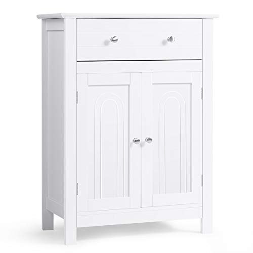 COSTWAY Badezimmerschrank weiß, Sideboard mit Schublade, Badschrank Kommode freistehend, Badezimmer Schrank verstellbaren Regalbrett, Aufbewahrungsschrank 60x30x80cm