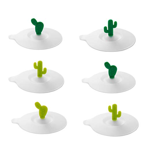 Cabilock 6 Stücke Silikon Tasse Deckel Silikon Glasabdeckung Cartoon Kaktus Griff Silikon Tasse Abdeckung Tasse Cover für Tassen Glas Becher zufällig Pattern