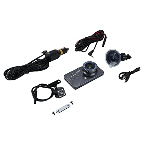 Deliu 4 Pulgadas 1080P Monitor de estacionamiento Coche DVR Cámara de Vista Trasera Grabador de Video con Sensor G Plateado