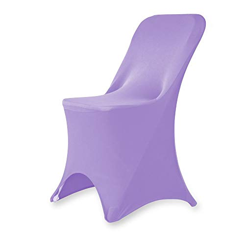 Set of 1/10/50Pcs Hotel Fitted Folding Dining Spandex Stretch Chair Covers - Wedding Reception Banquet Party Restaurant, 17 Colors! (1, Lavender)