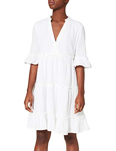 YAS Damen YASLIMA SS Short Dress-ICON S. Kleid, Bright White, L