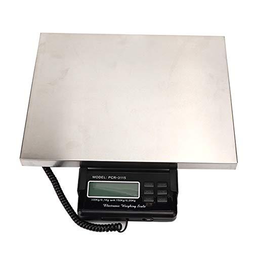 Báscula postal, báscula de plataforma impermeable de acero inoxidable, base de ABS para anticorrosión para pesar los propósitos postales, paquetes y cajas limitadas, peso 300 kg, 110-220 V, en