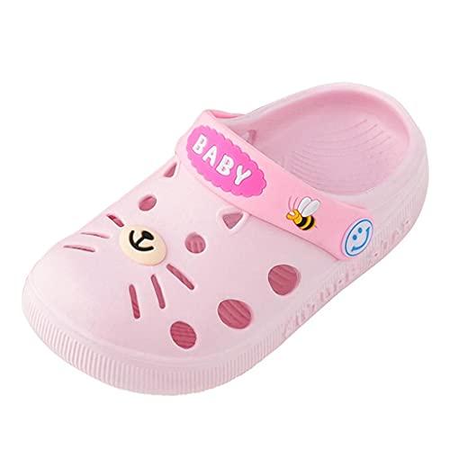 Zapatillas de estar por casa para niños, niñas, sandalias para niños, zapatos de bebé, zapatillas de playa para verano, chanclas de baño suaves, antideslizantes, para interior y exterior, Rosa., 26