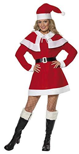 SMIFFYS Smiffy's 24506L - La Sig.Na Santa Pile Costume con Abito da Cape Belt & Cappello, Rosso, L