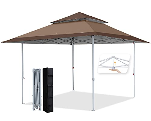 COOSHADE (Coffee 13x13Ft Pop Up Canopy Tent Instant Folding Shelter 169 Square Feet Large Outdoor Sun Protection Shade
