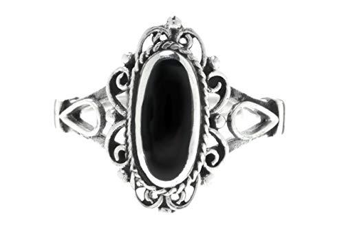 WINDFLAF Gothik Damen Ring Alisa 1.4 cm Mittelalter Vintage Silberring mit schwarzem Onyx Indie Midi Ring Festival Silberschmuck 925 Sterlingsilber (Silber, 58 (18.5))
