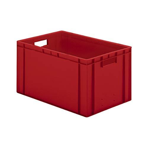 EURO-Behälter | Wände und Boden geschlossen | LxBxH 600 x 400 x 320 mm | Rot | VE 5 Stk - Behälter aus Kunststoff EUR-Stapelbehälter Euronorm Stapelkasten Euronorm Stapelkästen Euronorm-Stapelkasten Euronorm-Stapelkästen Kunststoff-Behälter