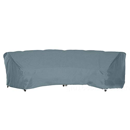 Outdoor Sectional Furniture Set Covers,Curved Sofa Cover, 210D Dustproof Curved Sofa Cover-gray_483x99x92cm,Anti-UV Dining Table Chair Cover Anti-Dust