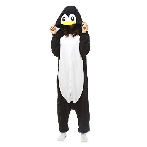 HQ-PJS Mono Madagascar Pingüino Cosplay Unisex Adulta Canguro Pijama De Una Pieza Suelta Otoño Animal…