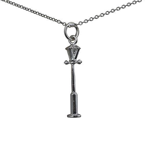 Argent Fin - 925/1000-25x6mm gaz lampadaire pendentif avec chaîne Rolo de 60cm