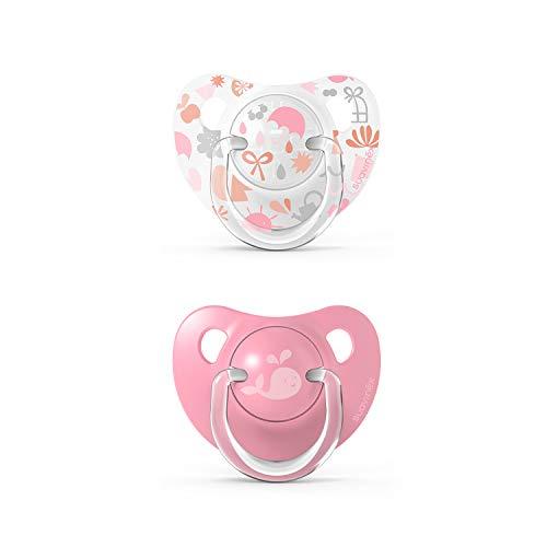 Suavinex 307166 Pack Chupetes para Bebés, Chupete con Tetina Anatómica de Silicona, Rosa +18 Meses, 2 Unidades