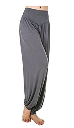 Leisial Pantalones de Yoga Algodón Suave Piernas Pantalones Anchos Sólido Color Elástico Pretina Pantalones Bombachos de Fitness Bailan Deportivo para Mujeres,Gris Oscuro L