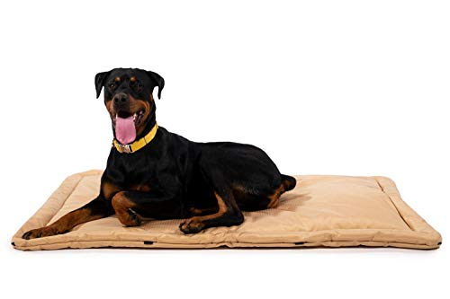 K9 Ballistics Tough Dog Crate Pad - Washable, Durable and Waterproof XL Dog Crate Beds - Large Dog Crate Mat, 47'x28', Tan