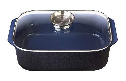 GSW Stahlwaren GmbH Plat à rôtir rectangulaire avec couvercle en verre et bouton aromatique - 40 x 26 x 11 cm - 8 l - En fonte d'aluminium - Bleu/noir/transparent