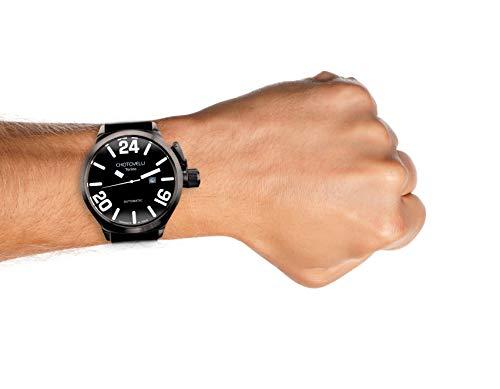 Chotovelli Men's Italian Navy Automatic Watch Sapphire Black Racing Strap