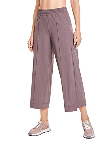 CRZ YOGA Women's Lightweight Wide Leg Capri Lounge Pants Travel Athletic Loose Elastic Waist Workout 7/8 Pants with Pockets Mauve Small