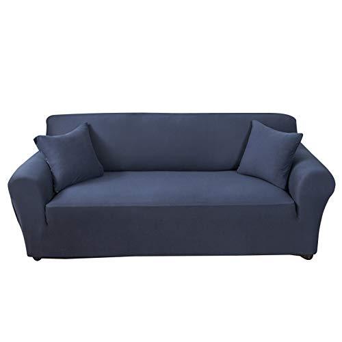 GDZHL - Copridivano elastico, in poliestere, antiscivolo, antipolvere, 1/2/3/4, spesso copridivano e federa, 1 pezzo, federa per cuscino, facile da montare (2 (145-185 cm), colore: blu navy)