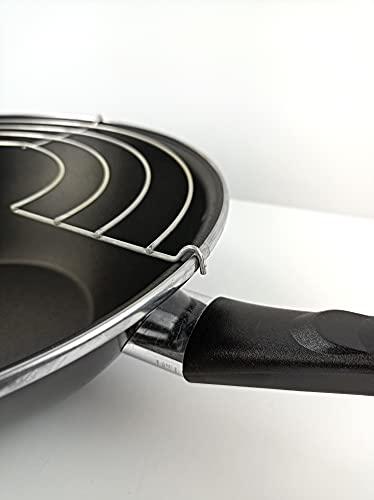 Magefesa Black - Wok 28cm de acero vitrificado exterior negro. Antiadherente bicapa Reforzado efecto piedra. Apto para todo tipo de cocinas, especial inducción. 50% de ahorro energético.