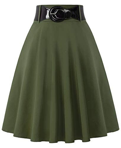 Women's Flared Swing Midi Skirt with Pockets Olive Green Skirts with Belt Size S