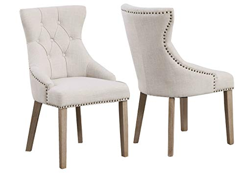 BTEXPERT Padded Dining Room Chairs High Back Tufted Parsons Upholstered, Ivory Beige Fabric