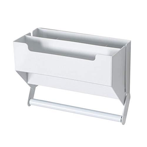 Estante película adhesiva cocina, dispensador de rollo montado pared, cortador de soporte de compartimento multicapa sin perforaciones que no deja marcas para encimera de microondas de refrigerador