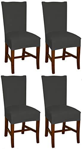Bellboni Stuhlhussen anthrazit, 4er Pack, hochwertige Stuhlbezüge, Stuhlüberzüge, passend für viele Stuhlgrößen elastisch, bi-Elastic