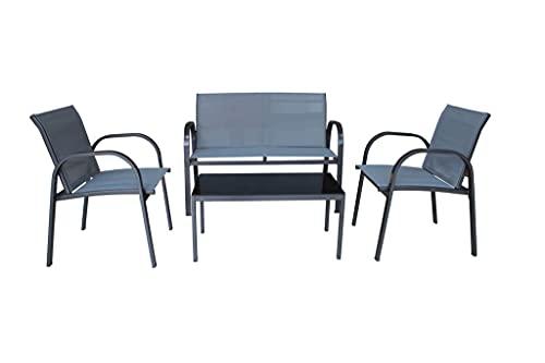 Salottino da giardino 4 posti con tavolino 2 poltrone e divanetto in ferro e textilene, colore grigio Sonora