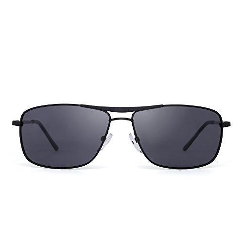 JIM HALO Gafas de Sol Polarizadas Rectangulares Conducir Marco Con Bisagras de Resorte Peso Ligero Hombre Mujer Gris