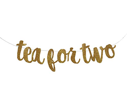 Tea for Two Banner Garland Sign, Glitter Gold Tea Party Banner, Alice in Wonderland, Smash Cake, 2nd Birthday, Tea Party