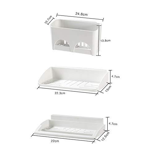 CZY douche kamer sterk plakken muur opknoping zeep doos plastic zonder ponsen opslag rack geometrische vorm badkamer plank 3 stuk Set