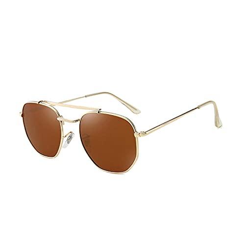 U/N Gafas de Sol poligonales Vintage polarizadas para Hombres y Mujeres con Lentes Planas con Montura metálica, Gafas de Sol Cool Shades-3
