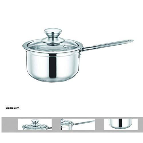 Smart-Planet® kleine roestvrijstalen pan 16 cm Ø met glazen deksel - ongecoat roestvrij staal 18/10 SUS304, vaatwasmachinebestendig - kookpan