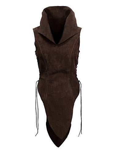 Andracor- Handgefertigte Frauen-Rüstung / Wams mit hohem Kragen aus echtem Leder für Elbinnen, Waldläuferinnen und Schildmaide - LARP Mittelalter, Wikinger & Cosplay - Dunkelbraun - Größe 38