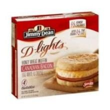 Jimmy Dean D lights Canadian Bacon Muffin Egg White and Cheese Breakfast Sandwich, 4.5 Ounce -- 12 per case.