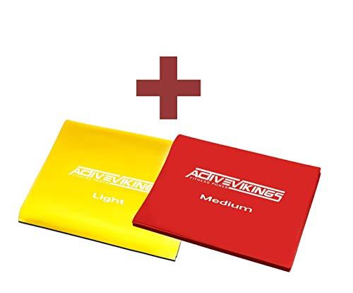 ActiveVikings® Fitnessbänder 2 Meter Package | Ideal für Muskelaufbau Physiotherapie Pilates Yoga Gymnastik - Fitnessband Gymnastikband Widerstandsband