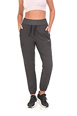 RUFIYO Women's Cargo Hiking Pants Outdoor Workout Capris Athletic Jogger Pants Lightweight and Quick Dry UPF 50+ Protection Black (S, Grey)