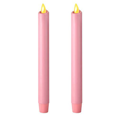 """Ksperway 8"""" Set of 2 Unscented Wax Flameless Taper Candle with Moving Wick,Timer and Remote Pink"""