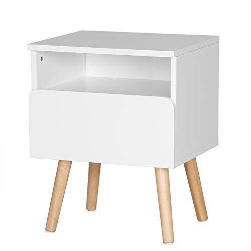 eSituro SCD0053 Nachttisch Nachtkommode Nachtschrank Beistelltisch Betttisch mit Schublade und Offenem Fach Holz Weiß