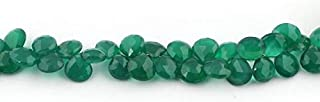 Jewel Beads Natural Beautiful jewellery Big Halloween Sale 1 Strand Green Onyx Faceted Heart Briolettes - Heart Shape Beads 9mmx8mm-12mmx10mm 9 Inches SB4548Code:- JBB-9575