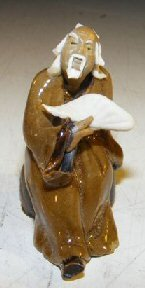Bonsai Boy's Ceramic Miniature Figurine Man With a Fan Fine Detail
