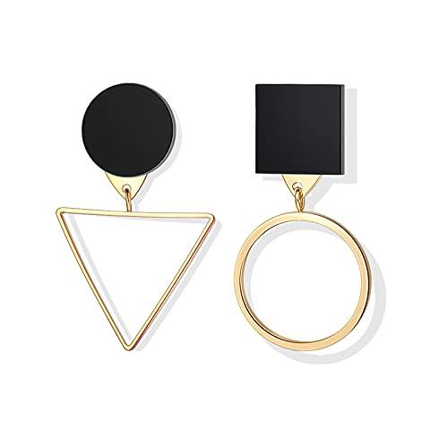 FEARRIN Pendientes Moda Inusual Vintage Acrylie Pendientes geométricos para Mujer Color Dorado Plateado Pendientes Colgantes para Boda Joyería Kolczyki Oro